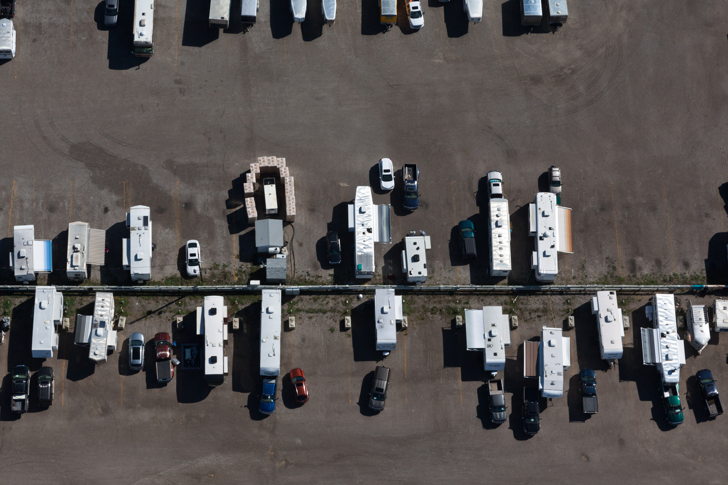 An aerial view of the Horses van parking lot at Spruce Meadows.